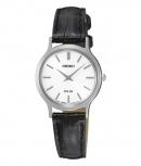 Seiko Damenuhr SUP299P1 Damen Leder Silber Solar Uhr Solaruhr Armbanduhr