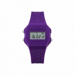 Superdry Damenuhr SYL201V Uhr Armbanduhr Mini Retro Digitaluhr Purple Lila