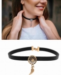 Traumfänger Damen Kette TFC01ROBK Gothic Stern Feder Choker Halskette Halsband