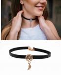Traumfänger Damen Kette TFC02ROBK Gothic Blume Feder Choker Halskette Halsband