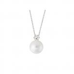 XENOX Damen Kette XS5260 Silber Perle 45 cm Halskette mit Anhänger